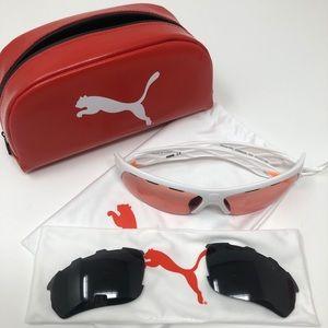 Puma Men's White Orange & Black Sunglasses